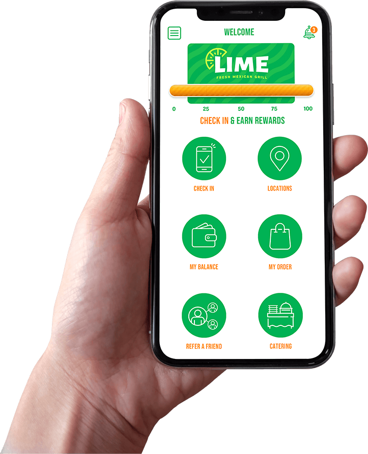 LIME Fresh Mexican Grill restaurant app rewards system showed on an iPhone